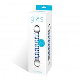 Прозрачный фаллос с голубой спиралью Spiral Dildo - 17 см.
