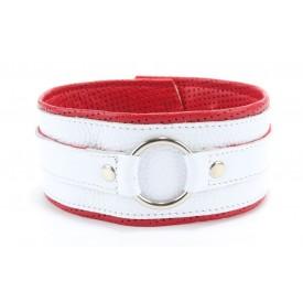 Бело-красный кожаный ошейник