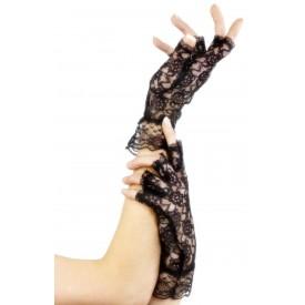 Короткие кружевные перчатки с открытыми пальчиками